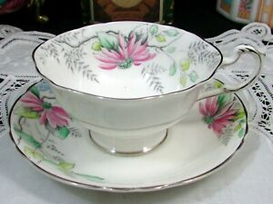 Paragon Pink Blue Flowers Silver Trim Wide Tea Cup And Saucer