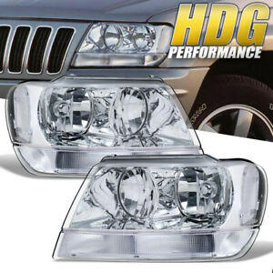 Headlight For 1999 2004 Jeep Grand Cherokee Replacement Clear Chrome Lamps 99 04