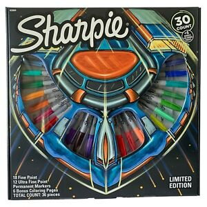 Sharpie 30 Count Special Limited Edition Permanent Markers 6 Coloring Page Set