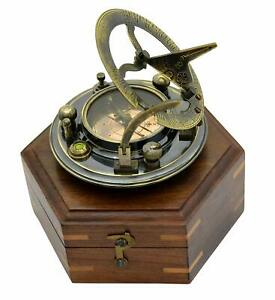 Collectible Maritime Antique Marine Sundial Compass Vintage With Wooden Box
