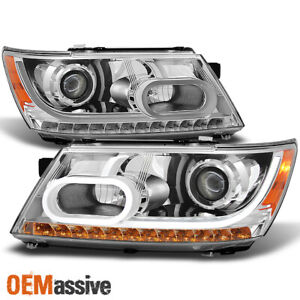 Fit 2009 2014 Dodge Journey Drl Light Tube Led Signal Projector Headlights Pair