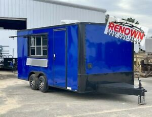 new 8 5x18 Tandem Axle Electric Blue Concession Trailer