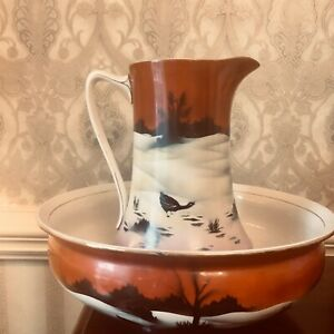 Large Antique Pitcher Wash Basin Bowl Set Geese In Moonlight Rust Black Pink