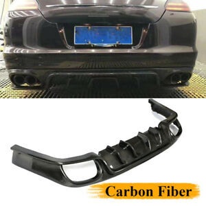 Fit For Porsche Panamera 2010 2014 Rear Bumper Diffuser Spoiler Lip Carbon Fiber