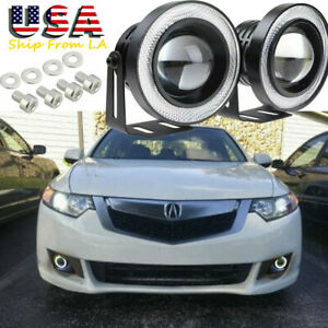 2x 2 5 Car Cob Led Angel Eye Halo Ring Fog Light Projector Drl For Acura Toyota