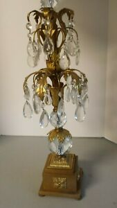 Bronze And Crystal Elegant Hollywood Regency Table Lamp
