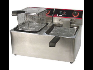 Brand New Winco Eft 32 32 ounce Countertop Electric Twin Well Deep Fryer