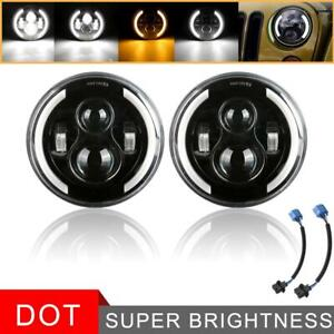 Pair 7 Inch Round Cree Led Headlight Hi lo Beam Drl For Jeep Wrangler Motorcycle