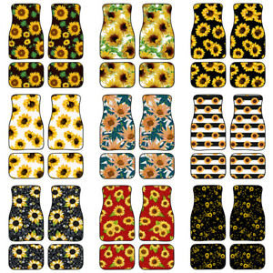 Sunflower Car Floor Mats Universal Fit Carpet For Women Auto Interior 2 Or 4 Set