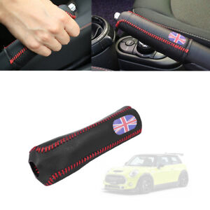 Red Union Jack Flag Style Leather Hand Brake Cover For Mini Cooper F56 F55 F54