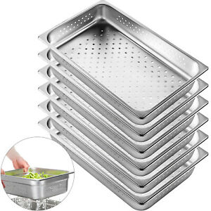 Perforated Steam Table Pan Hotel Full Size 2 5 deep Stainless Steel Pans 6 Pack