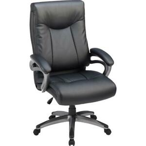 Lorell High Back Executive Chair Black Leather Seat 5 star Base 27