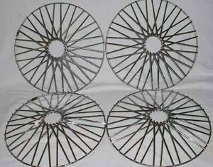 Vintage 1970 S Appliance Wheels Chrome Wire Baskets 14 Inch Set Of 4 Excelent