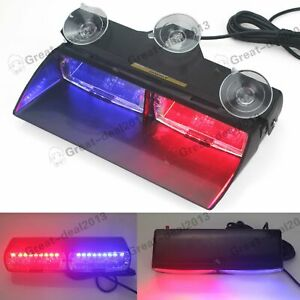 Car 16 Led Red Blue Dash Emergency Warning Flashing Police Strobe Flash Light
