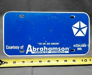 Vintage Original Abrahamson Chrysler Plymouth License Plate Highland Indiana