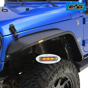 Eag Fits 07 18 Jeep Wrangler Jk Front Regular Width Steel Led Fender Flares