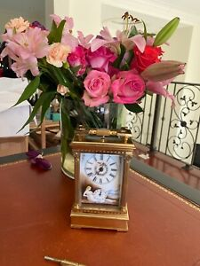 Antique Carriage Clock Porcelain Painted Nudes With Key
