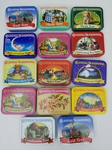 CELESTIAL SEASONINGS large lot of 14 collectible miniature vintage tea tins EUC