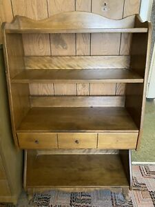 Antique Country Americana Wood Bookshelf With Drawer