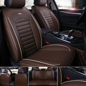 5 Seats Universal Car Seat Covers Deluxe Pu Leather Seat Cushion Full Set Cover