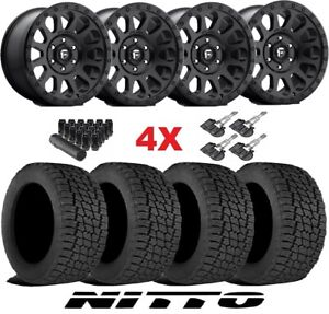 Fuel Vector Wheels Rims Tires Black 285 70 17 Nitto G2 All Terrain Terra