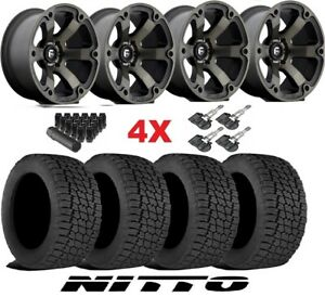 Fuel Vapor Wheels Rims Tires Black 285 70 17 Nitto G2 All Terrain Terra