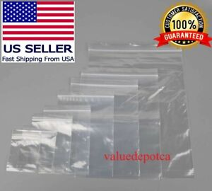 100 500 1000 Clear Reclosable Ziplock Plastic Bags Poly Jewelry Zipper Bag 2 Mil