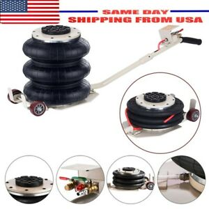 Portable 3 Ton Lifts Triple Stage Bag Air Go Jack Frame Alignment Car Truck Us