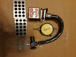 Starrett No 657 Magnetic Base With Flex a post Indicator Holder And Dial