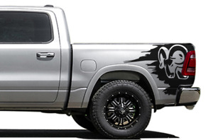 Ram Horn Graphic Side Bed Stripes Decal Sticker For Dodge Ram Crew Cab 1500 Str