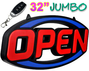 Extra Large Led Open Sign Ultra Bright 32 Inch Animated Flashing Remote Control
