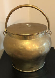 Antique Solid Brass Skultuna 2k Fat Bulbous Bucket With Lid And Brass Handle
