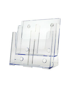 2 Tier Brochure Holder For 8 5 w Literature With Removable Dividers Acrylic