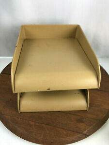 Vtg Globe Brown Flash Filing Two Tier Metal Organizer In Out Paper Letter Tray