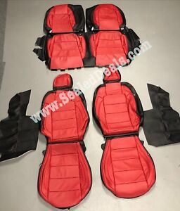 Katzkin Ford Mustang Black And Red Gt V6 Coupe Leather Seat Covers 2015 2020