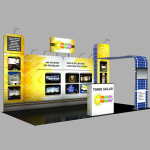 20ft Portable Trade Show Display Booth Expo Kit With Counter Tv Mount Lights