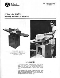 Rockwell International 37 315 8 inch Long bed Jointer Instruction Maint Manual