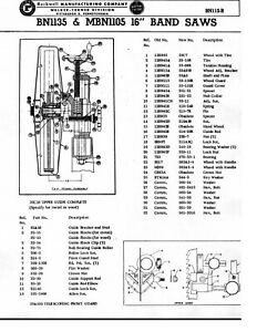 Rockwell Walker turner Band Saw Bn1135 Mbn1105 16 Inch Repair Parts Manual