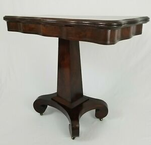 Antique Empire Mahogany And Cherry Wood Flip Top Console Game Table On Wheels