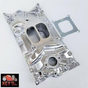 Small Block Chevy Vortec Polished Aluminum Intake Manifold Dual Plane 350 400