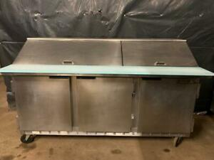 Beverage Air Sp72 30m Three Door Refrigerated Sandwich Prep Table