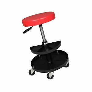 Adjustable Mechanics Creeper Seat Rolling Stool Pneumatic Chair Tray Padded R