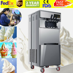 20l h Portable Commercial 3 Flavors Ice Cream Machine Steel Automatic Us Top