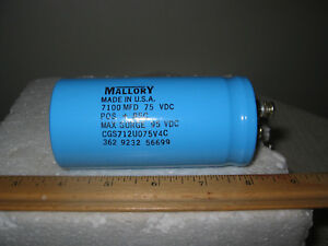 Mallory Large Can Capacitor 7100mfd 75vdc P n Cgs712u075v4c