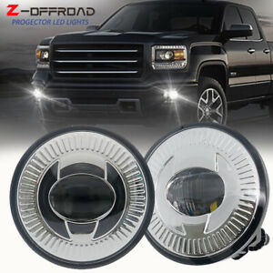 2x Round Led Fog Lights For 2007 2014 Chevy Tahoe Avalanche Suburban Gmc Chrome