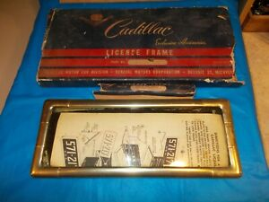 Circa 1950 s Cadillac Exclusive Accessories N o s Gold License Frame In Box