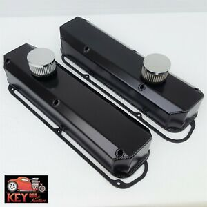 Small Block Mopar Black Fabricated Aluminum Valve Covers Breathers Dodge 318 360