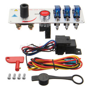 Led Toggle Ignition Switch Panel Engine Start Push Button Set Fit Racing Car 12v