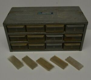 Vtg 12 Drawer Metal Hardware Storage Bin Parts Organizer Hobby Cabinet Rat