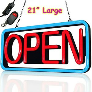 Large Bright Led Open Sign 21 Remote For Business Restaurant Shop Bar Pub Store